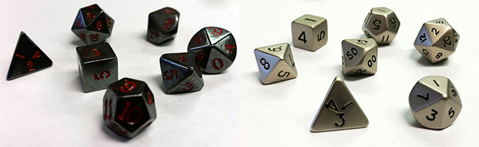 Hematite and Steel Dice Sets