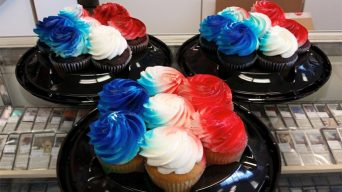Red, White, and Blue Frosted Cupcakes