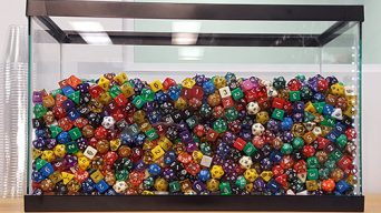 fish tank full of dice
