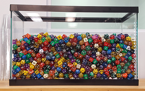 fish tank full of dice