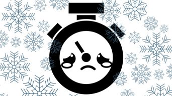 Sad clock in snow cartoon