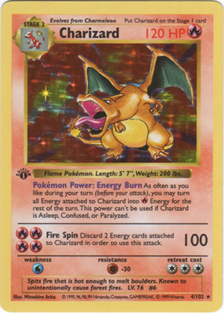 Pokemon Base Set Shadowless Charizard Card