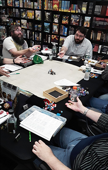 People playing Dungeons and Dragons at The Relentless Dragon - Londonderry, in New Hampshire