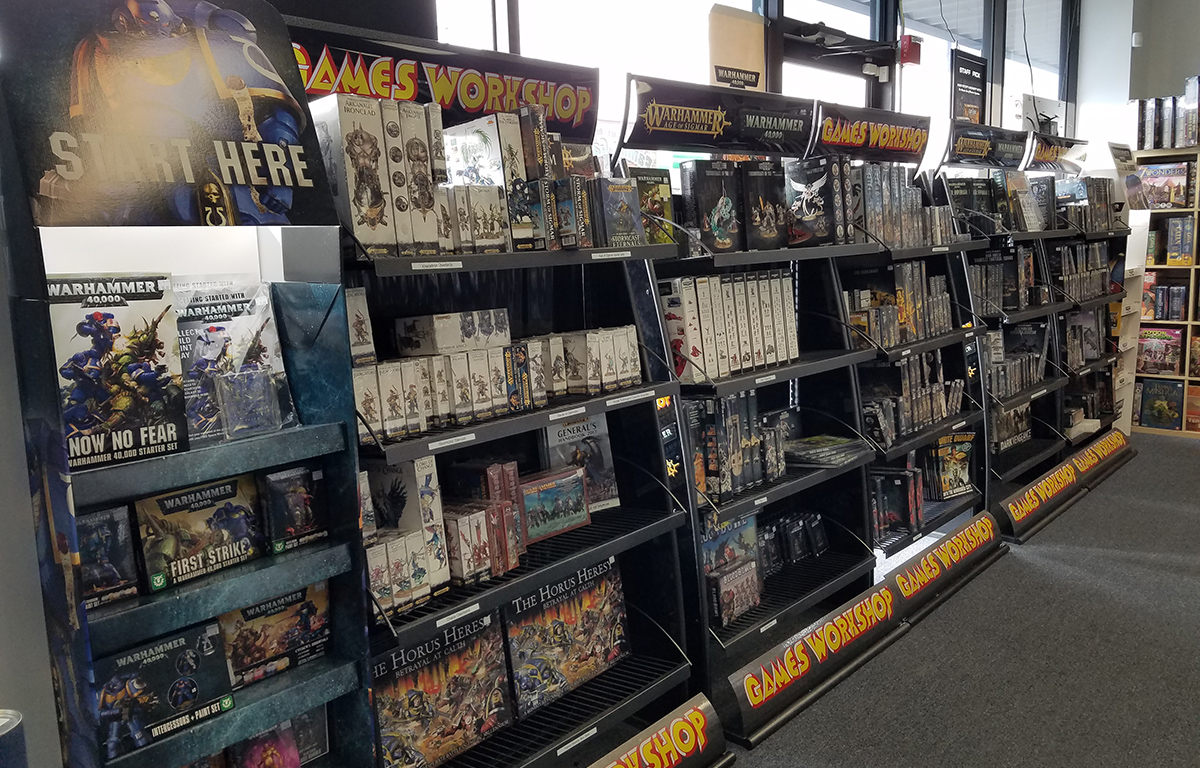 Games Workshop Display at The Relentless Dragon Game Store, in Nashua, NH