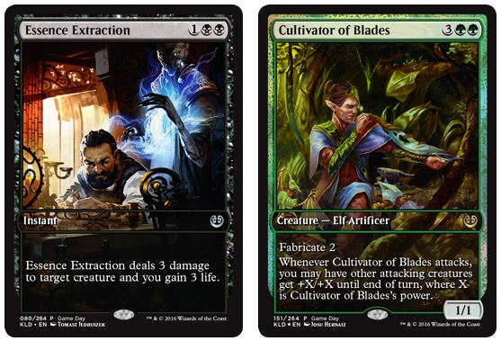 Kaladesh Game Day Promo Cards: Essence Extraction and Cultivator of Blades