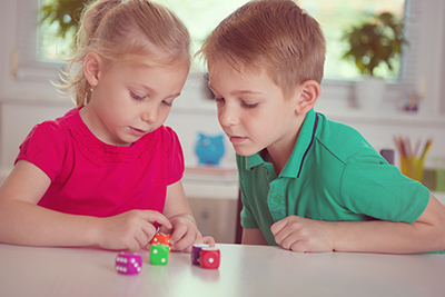 Kids learning with dice