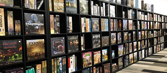 Photo of our board game wall in Londonderry