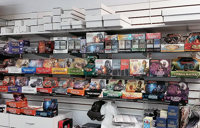 Our Magic: the Gathering shelves in July 2016 – 21 sets of boosters and more!