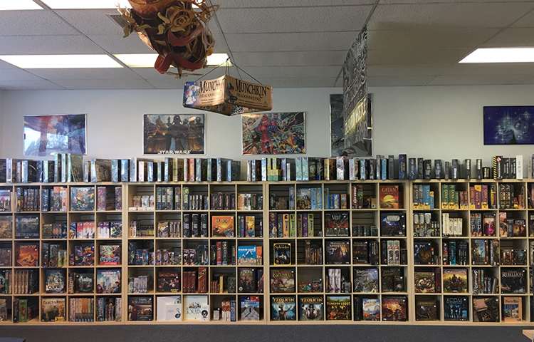 The Main Board Game Wall at The Relentless Dragon, in Nashua, NH