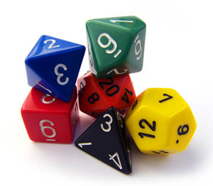 A pile of 6 generic polyhedral dice