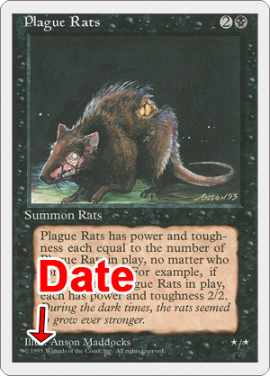 Magic: the Gathering Card showing a date on copyright line